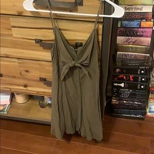 Army green top shop dress with under boob cutouts